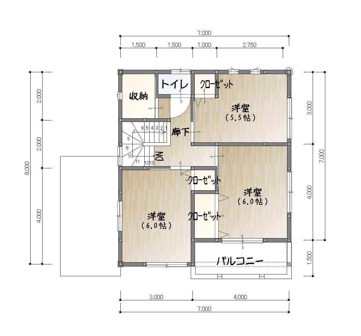 夏目ヶ市建売2F平面図(※実際の建物と異なる場合があります。)