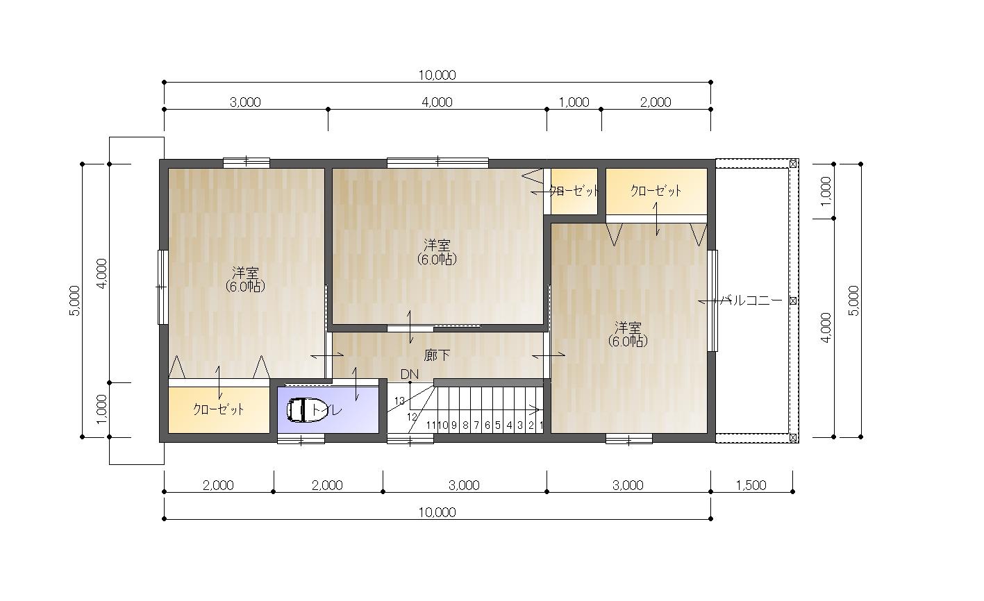 宇和津町プラン住宅2F平面図(※実際の建物と異なる場合があります。)